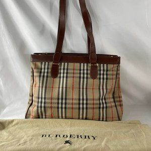 Burberry Vintage Check Canvas w/ Leather Trim Tote